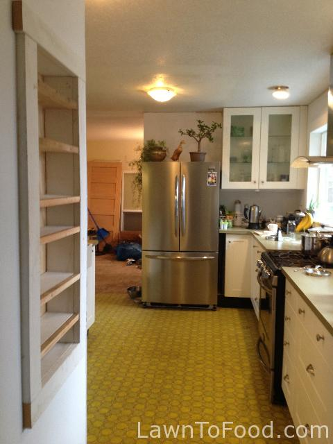 Same stage in the project, from an opposite view. This shows how close the spices are to my stove and baking counter.