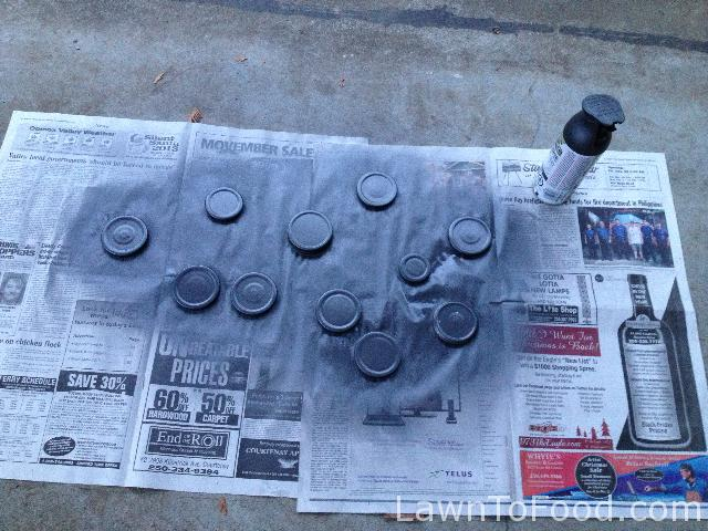 I also took a moment and spray painted some of the jar lids charcoal gray to add continuity.